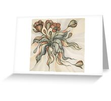 Vintage Bridal Bouquet.Hand drawn watercolor and ink drawing Greeting Card