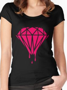 Neon Dripping Diamond Women's Fitted Scoop T-Shirt