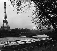 BW France Paris Eiffel tour Seine at dusk 1970s by blackwhitephoto