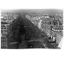 BW France Paris champs elysees avenue 1970s Poster