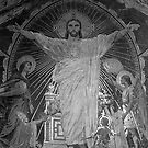 BW France Paris Sacre Coeur Basilica dome Jesus 1970s by blackwhitephoto