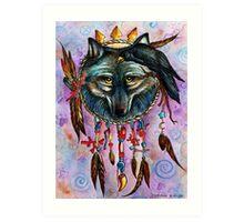 Harmony Raven and Wolf Spirit Art Print
