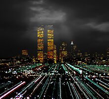 World Trade Center at Night 1980 by Kellice