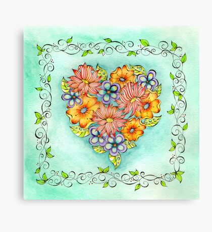 Flower Heart Canvas Print