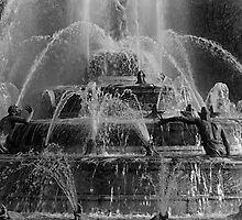 BW France palace of Versailles Latona Fountain 1970s by blackwhitephoto