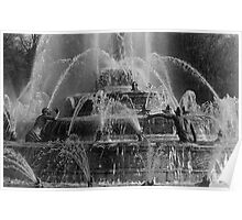 BW France palace of Versailles Latona Fountain 1970s Poster