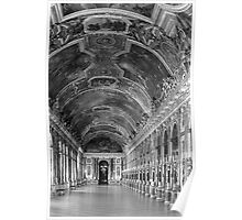 BW France palace of versailles mirrors galery 1970s Poster