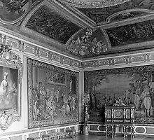 BW France palace of Versailles stade dining room 1970s by blackwhitephoto
