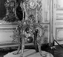 BW France Palace of Versailles astronomical clock 1970s by blackwhitephoto