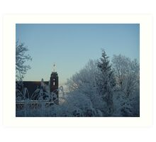 Winter scene with church Art Print