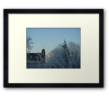 Winter scene with church Framed Print