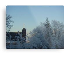 Winter scene with church Metal Print