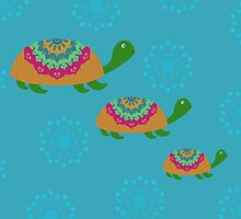 Cute Hand Painted Turtles Illustration by Cristina Bianco Design