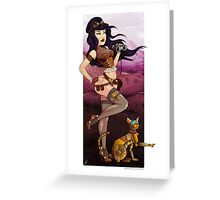 Steampunk traveler and her robot cat Greeting Card