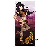 Steampunk traveler and her robot cat Photographic Print