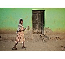 A Girl by a Door Photographic Print