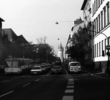 BW Germany Frankfurt City street cars 1970s by blackwhitephoto