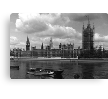 BW UK England London The houses of parliament 1970s Canvas Print