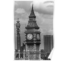 BW UK England London The post office tower Big ben 1970s Poster
