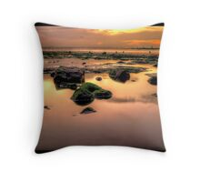 Redcar Beach at Low Tide Throw Pillow