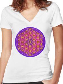 Flower of Life Sacred Geometry Women's Fitted V-Neck T-Shirt