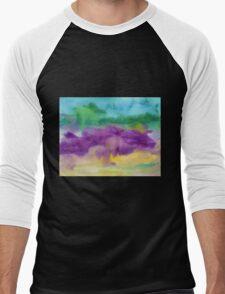 Abstract Watercolor Painting Blue Purple Green Yellow Men's Baseball ¾ T-Shirt