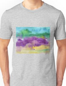 Abstract Watercolor Painting Blue Purple Green Yellow Unisex T-Shirt