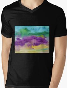 Abstract Watercolor Painting Blue Purple Green Yellow Mens V-Neck T-Shirt