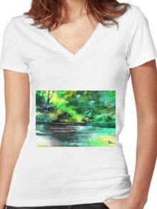 Deep 2 Women's Fitted V-Neck T-Shirt