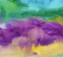 Abstract Watercolor Painting Blue Purple Green Yellow by Beverly Claire Kaiya