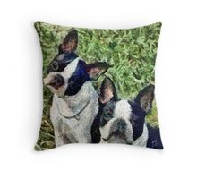 Boston Terrier Duo - Skipper and Dee Dee Throw Pillow