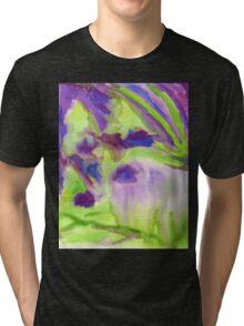 Abstract Watercolor Iris Field Purple Blue Green Tri-blend T-Shirt