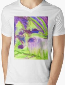 Abstract Watercolor Iris Field Purple Blue Green Mens V-Neck T-Shirt