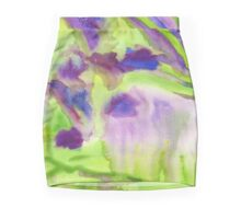 Abstract Watercolor Iris Field Purple Blue Green Mini Skirt