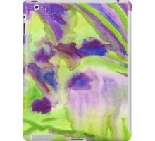 Abstract Watercolor Iris Field Purple Blue Green iPad Case/Skin