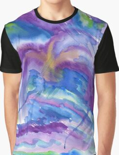Abstract Watercolor Painting Blue Purple Green Yellow Graphic T-Shirt