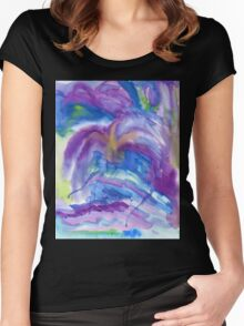 Abstract Watercolor Painting Blue Purple Green Yellow Women's Fitted Scoop T-Shirt