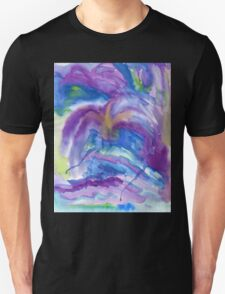 Abstract Watercolor Painting Blue Purple Green Yellow T-Shirt
