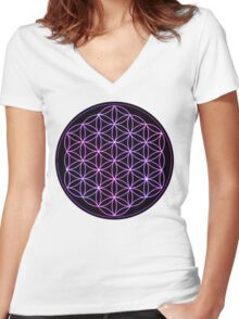 Flower of Life - Pink to Purple Women's Fitted V-Neck T-Shirt