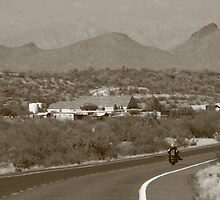 Riding off into the distance,,,,Rt. 60 Western AZ. by Adam Kuehl