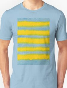 Abstract Hand-Painted Watercolor Stripes Blue Yellow Unisex T-Shirt