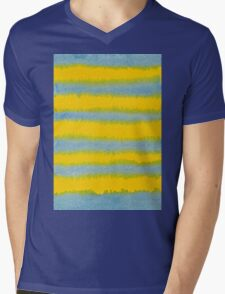 Abstract Hand-Painted Watercolor Stripes Blue Yellow Mens V-Neck T-Shirt