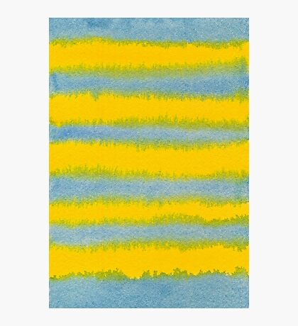 Abstract Hand-Painted Watercolor Stripes Blue Yellow Photographic Print