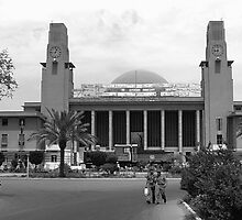 BW Iraq Baghdad central railway station 1970s by blackwhitephoto