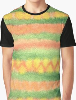 Hand-Painted Watercolor Stripes Green Orange Graphic T-Shirt