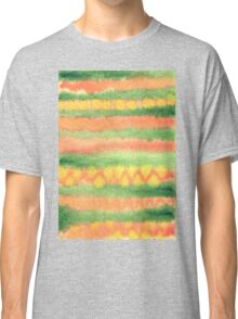 Hand-Painted Watercolor Stripes Green Orange Classic T-Shirt