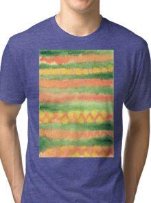 Hand-Painted Watercolor Stripes Green Orange Tri-blend T-Shirt