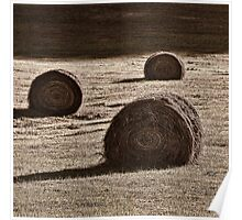 Haybales in the Field Poster