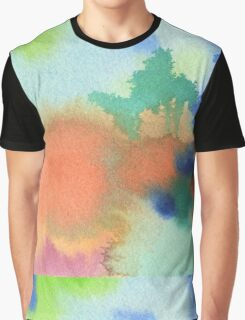 Hand-Painted Abstract Watercolor in Blue Orange Green Red Graphic T-Shirt