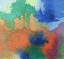 Hand-Painted Abstract Watercolor in Blue Orange Green Red Sticker